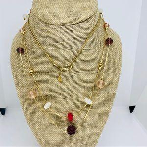 Loft gold multi color doble string necklace